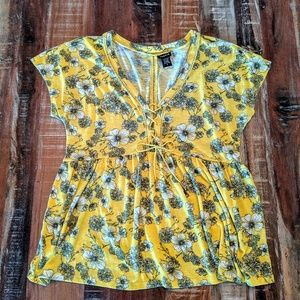 Torrid Yellow Floral lace- up Top Size 0X